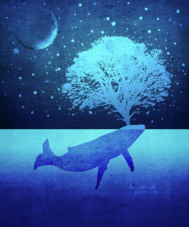 Whale Digital Art - Whimsical Whalte Spouting Tree by Laura Ostrowski