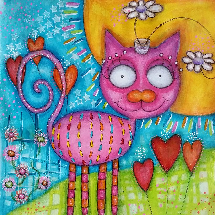 Cat Painting - Whimsicat  by Barbara Orenya