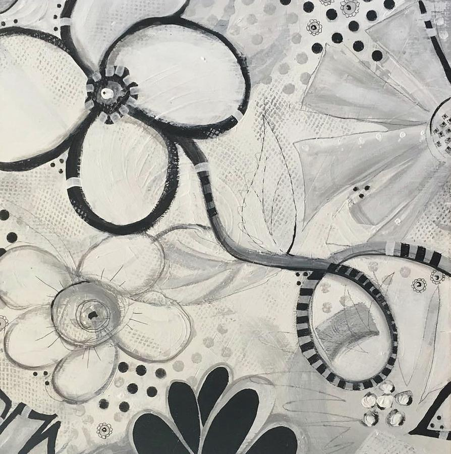 Black & White Mixed Media - Whimsy Flower by Nancy Gunther