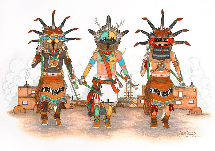 Whipper Kachinas Mixed Media by Lavelle Mahle
