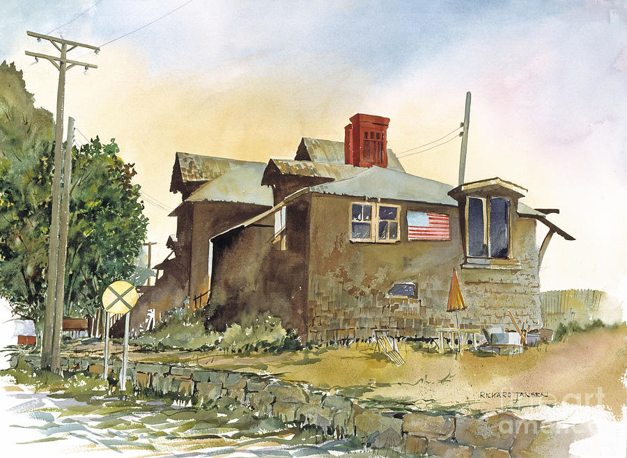 Watercolor Painting - Whistle Stop  by Richard Jansen