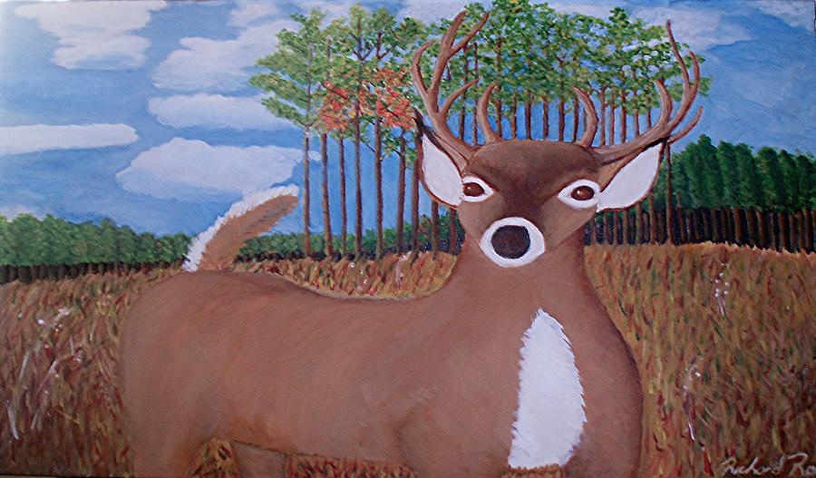 Whit Tall Buck Painting by  Richard  Rollings
