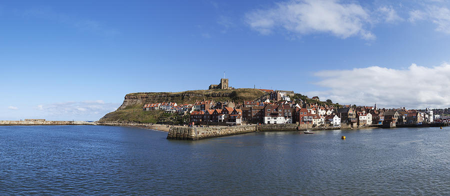 Whitby Photograph - Whitby Harbour With Abbey Ruins by Gillian Dernie