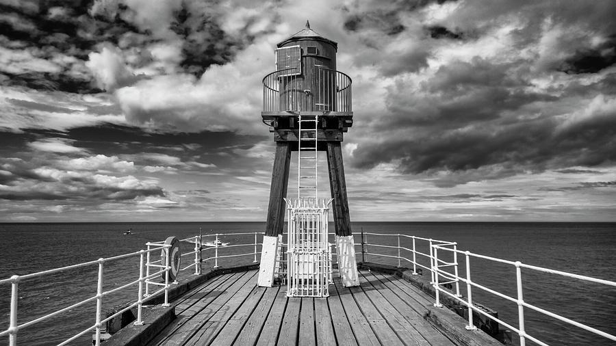 Lighthouse Photograph - Whitby Pier by Gillian Dernie