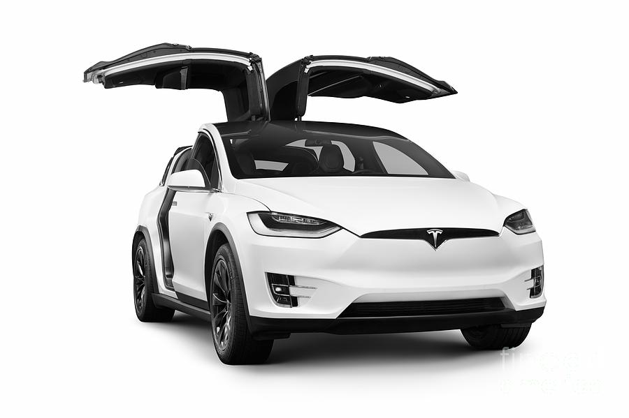 white 2018 tesla model x luxury suv electric car with open falcon wing doors photograph by awen. Black Bedroom Furniture Sets. Home Design Ideas