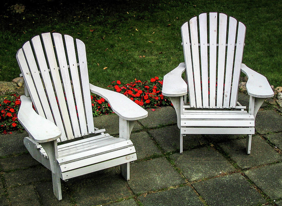 White Adirondack Chairs Photograph By Robert Anastasi