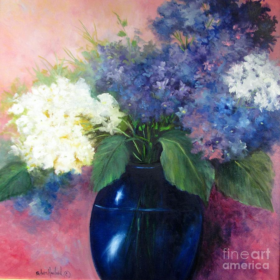 Flowers Painting - White and Blue Hydrangeas by Barbara Haviland