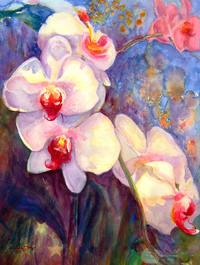 Watercolor Paintings Painting - White And Fuchsia Orchids by Estela Robles