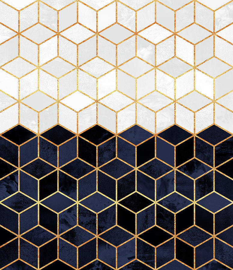 Graphic Digital Art - White and navy cubes by Elisabeth Fredriksson