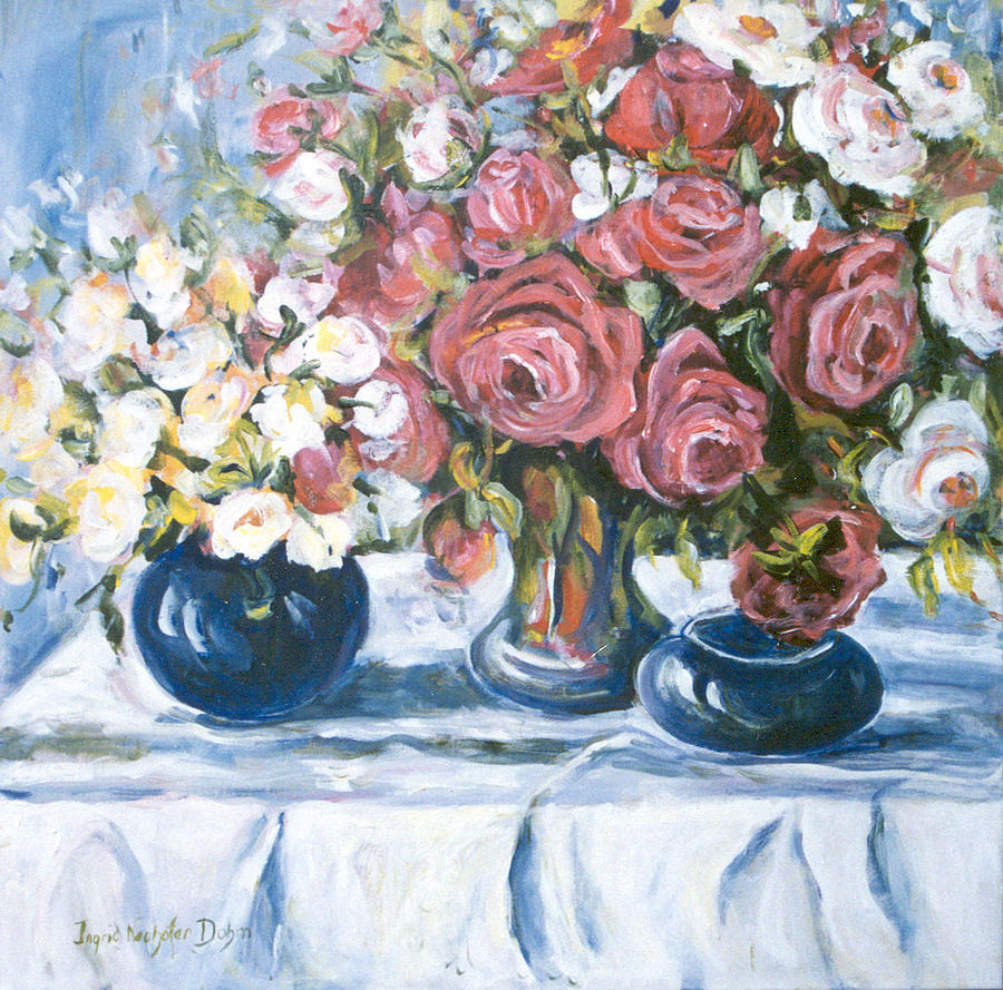 White And Red Roses Painting