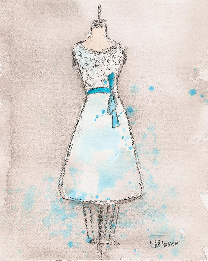 White Lace Painting - White And Teal Dress by Lauren Maurer