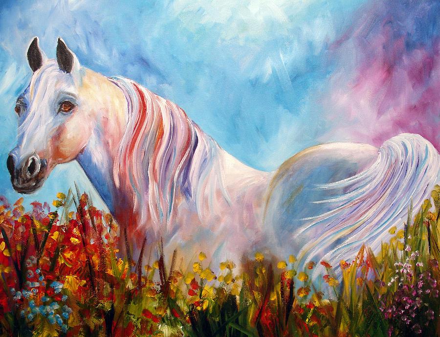 White Arabian Painting - White Arabian Horse by Mary Jo Zorad