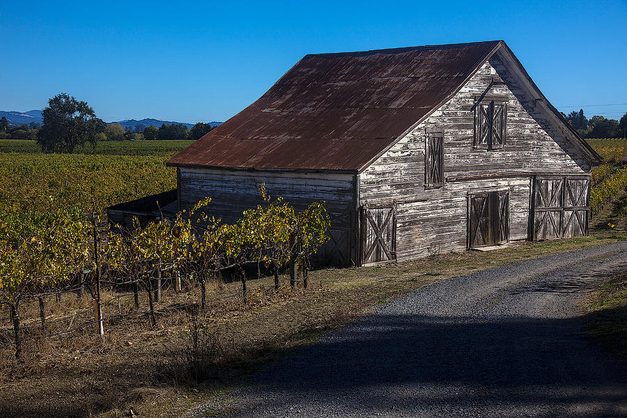 White Photograph - White Barn by Garry Gay