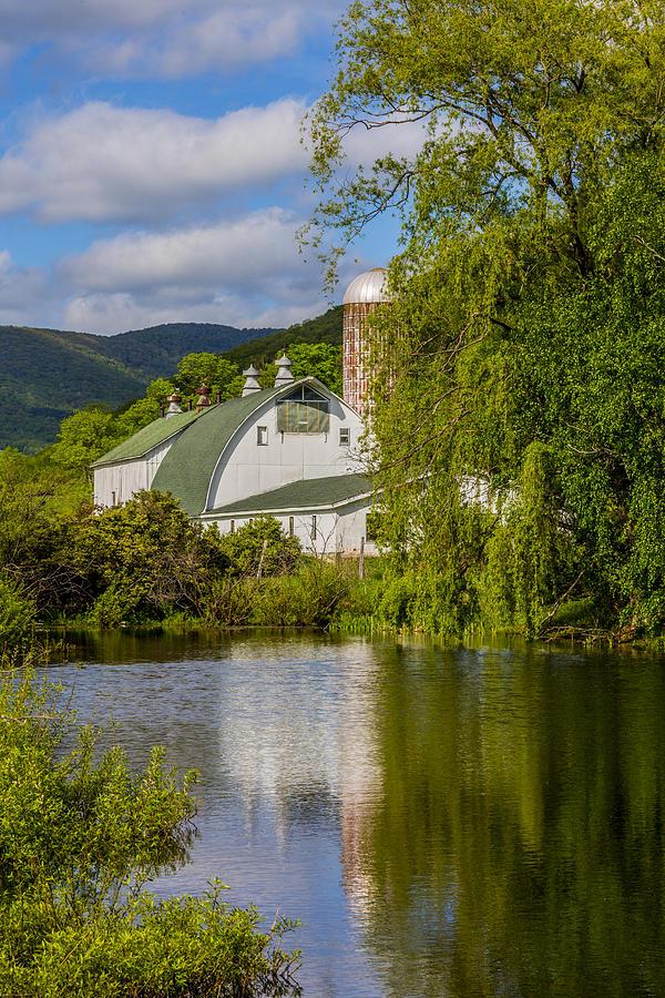 White Barn Reflection in Pond by Paula Porterfield-Izzo