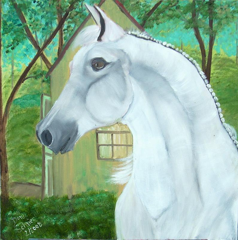 Horse Painting - White Beauty by Donald Schrier
