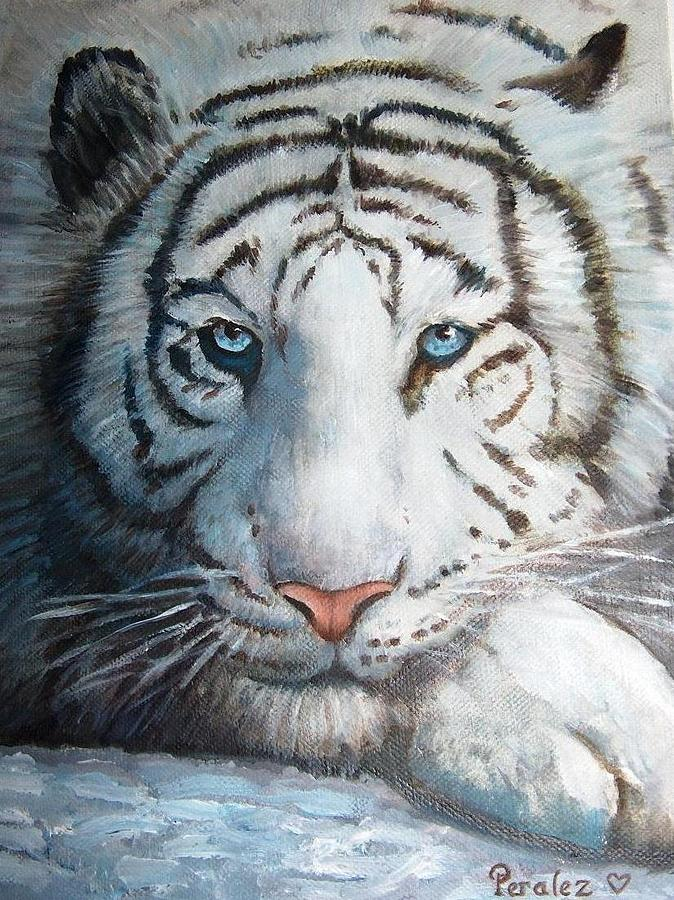 White Bengal Tiger Painting By Noe Peralez