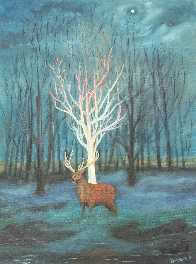 White Birch And Stag Painting