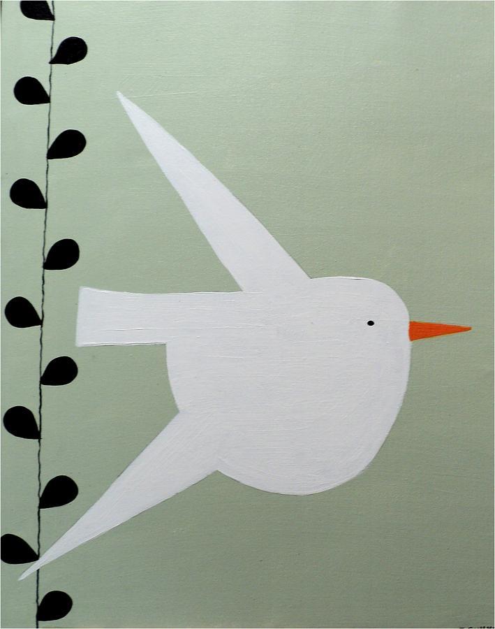 White Birdie Painting by Denise Cummings