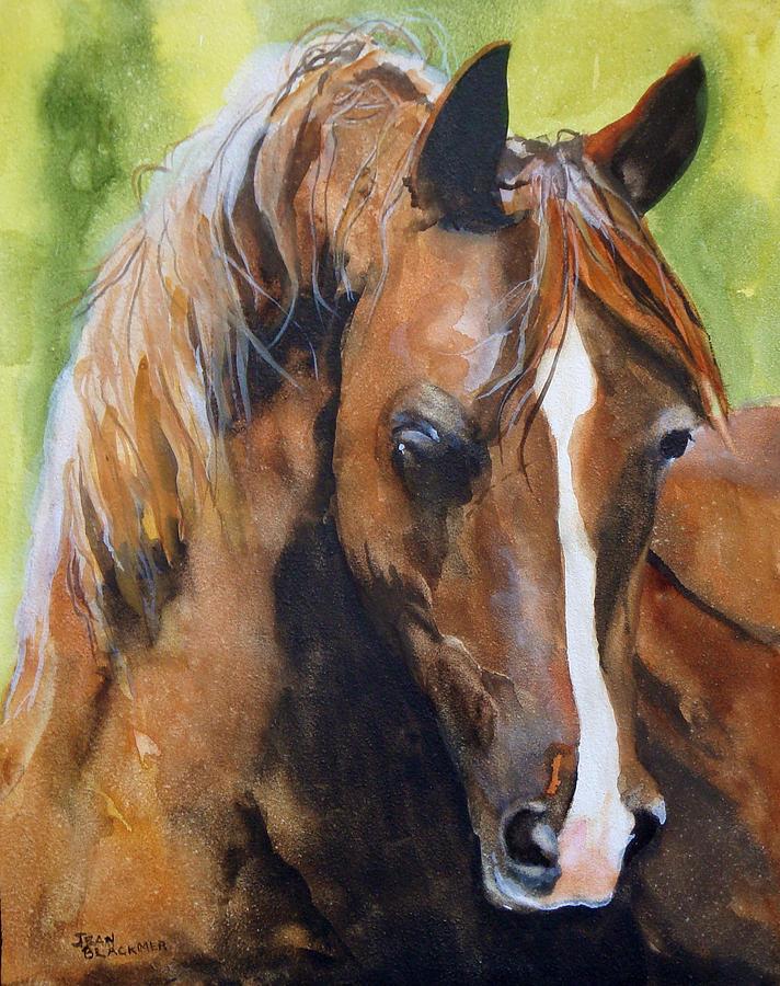 Horse Painting - White Blaze by Jean Blackmer