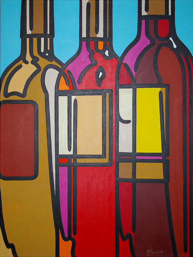 Wine Painting - White Blush And Red by Guadalupe Herrera