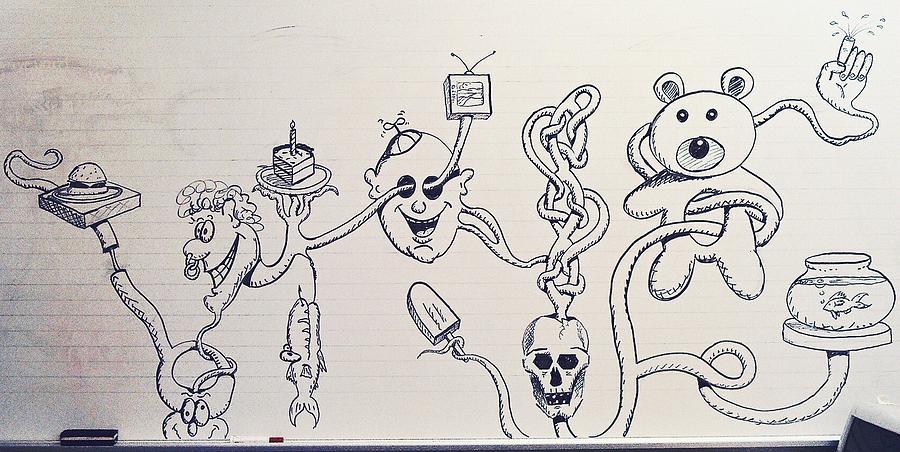 Teddy Bear Drawing Drawing - White Board by Ronald Walker