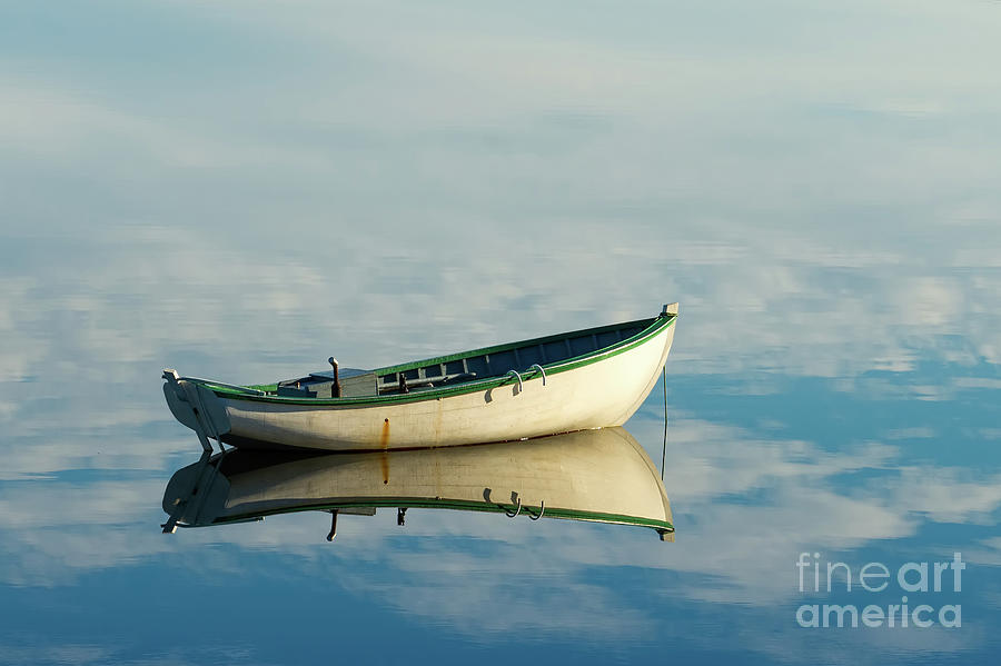 White boat reflected by Les Palenik