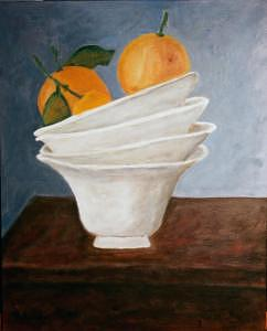 White Bowls And Oranges Painting by Vicky D