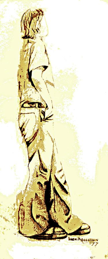 White Drawing - White Boy Standing On Table by Sheri Buchheit