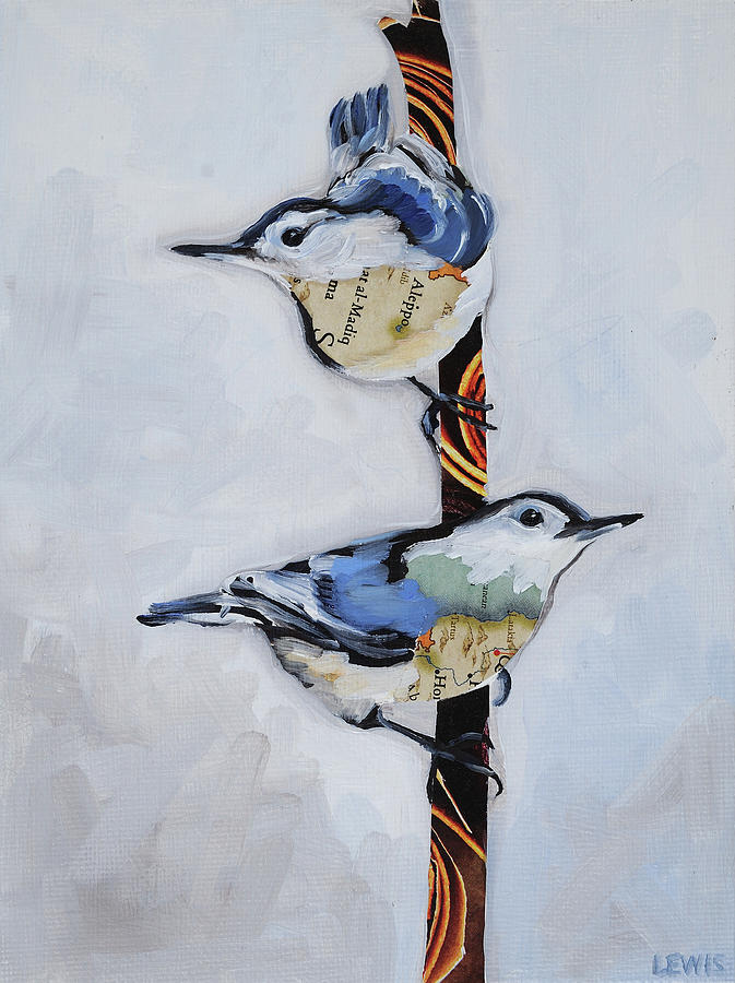 White Breasted Nuthatch Painting - White Breasted Nuthatch by Anne Lewis