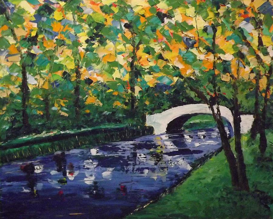 Landscape Painting - White Bridge by Emily McLemore