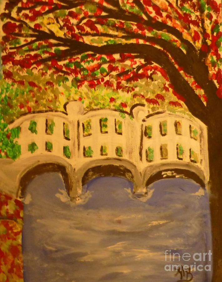 Landscape Painting - White Bridge In The Woods by Marie Bulger