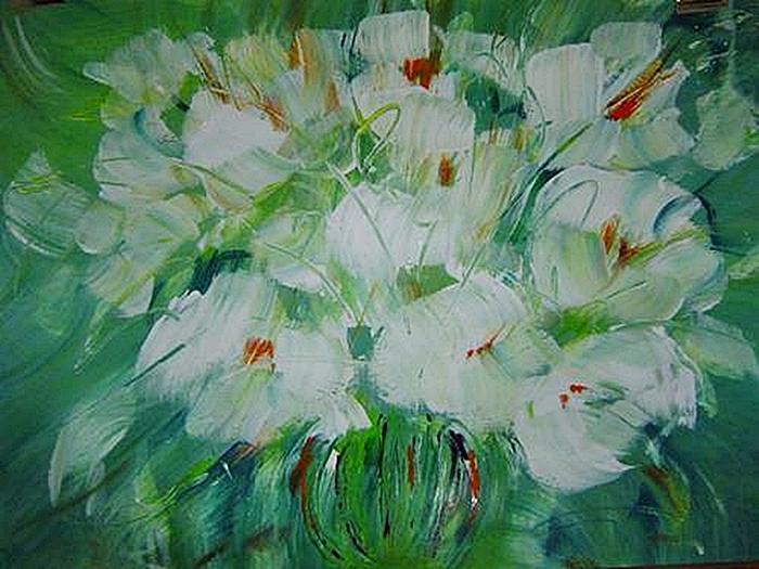 Flowers Painting - White by Bridgette  Allan