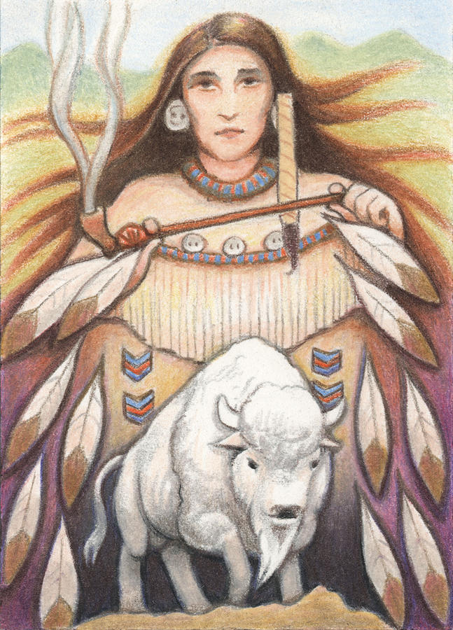 White Buffalo Woman Drawing by Amy S Turner