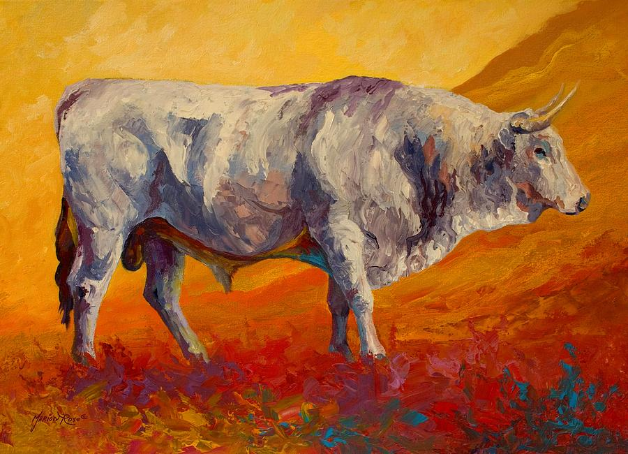 Cows Painting - White Bull by Marion Rose