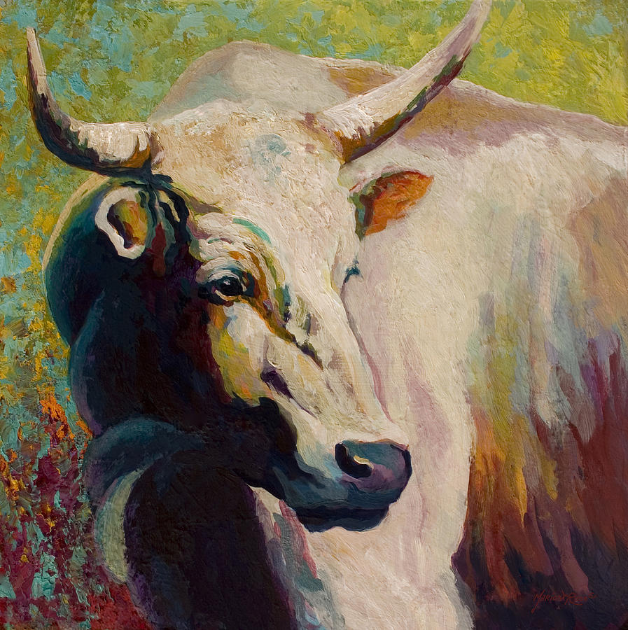 Cow Painting - White Bull Portrait by Marion Rose