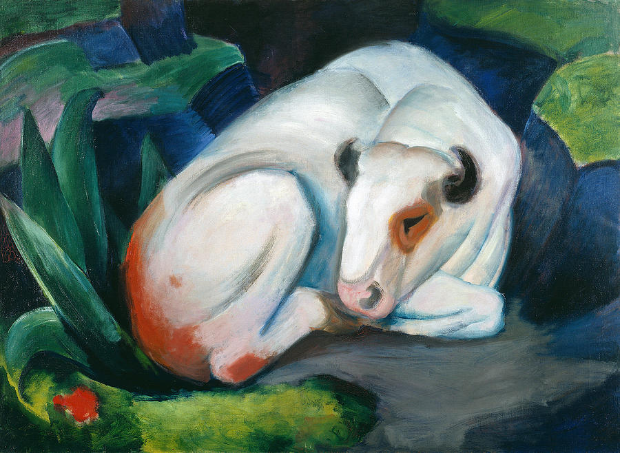 White Bull Painting - White Bull Resting In The Woods By Franz Marc by Franz Marc