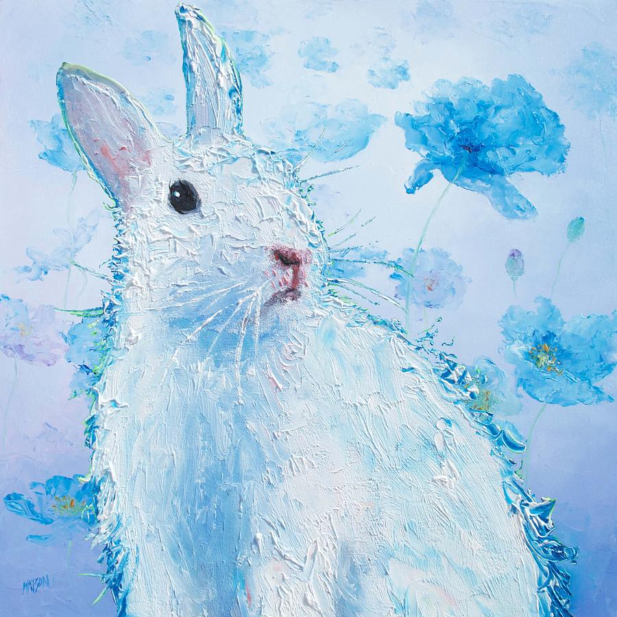 White Bunny On Blue Floral Background Painting By Jan Matson