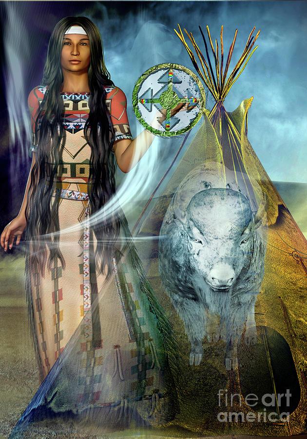 White Buffalo Calf Woman 2 Digital Art by Shadowlea Is