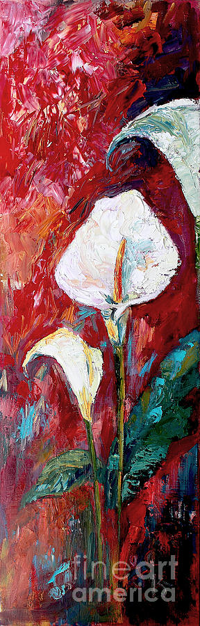 White Calla Lilies Oil Painting Painting by Ginette Callaway
