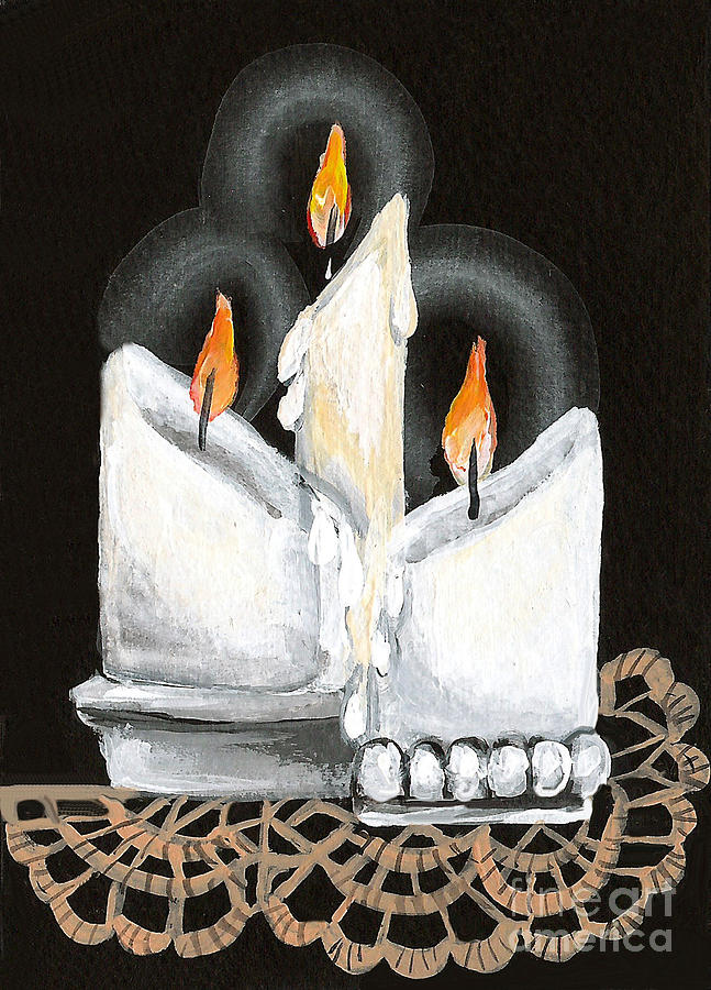 Candles Painting - White Candle Trio by Elaine Hodges