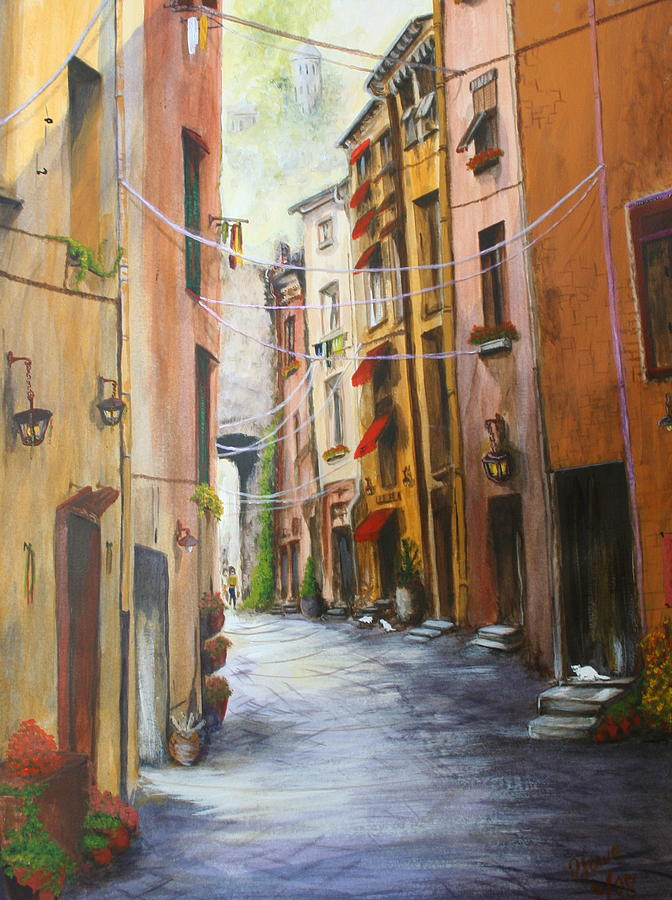 Street Painting - White Cat Lane by Jan Lowe
