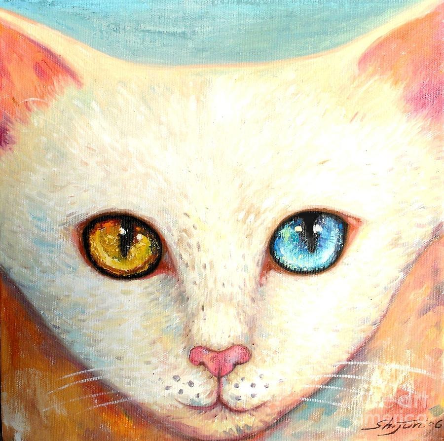 Portrait Painting - White Cat by Shijun Munns