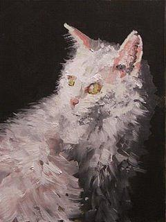 Cat Painting - White Cat by Stephen Scott