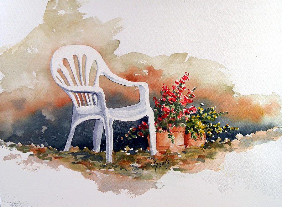 Chair Painting - White Chair With Flower Pots by Sam Sidders