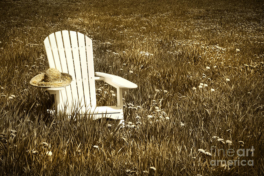 Adirondack Digital Art - White Chair With Straw Hat In A Field by Sandra Cunningham
