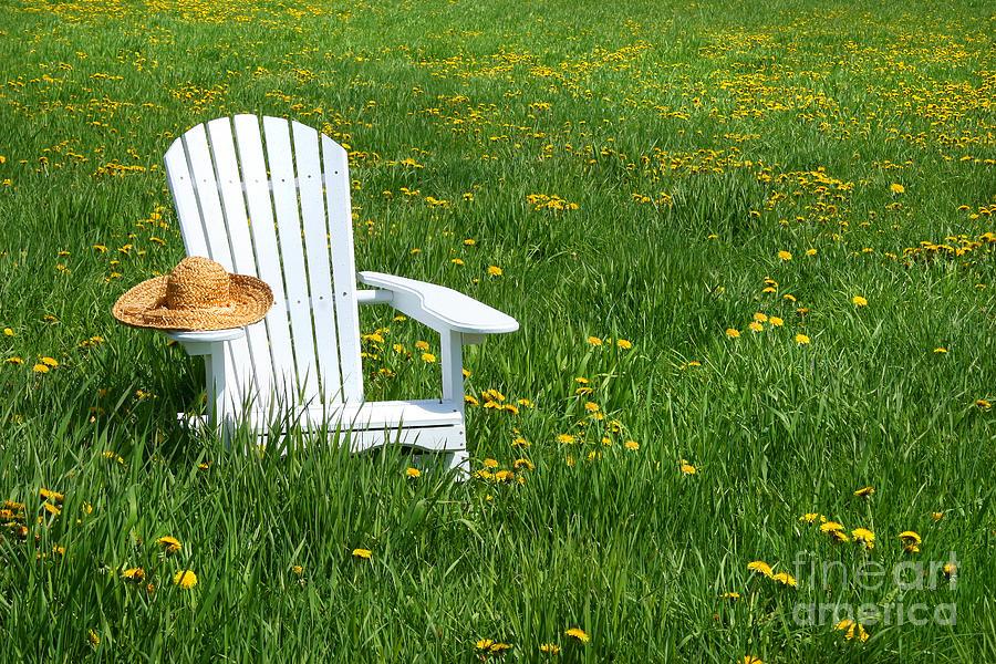 Adirondack Digital Art - White Chair With Straw Hat by Sandra Cunningham