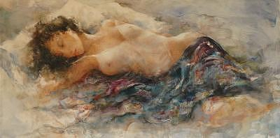 Reclining Beautiful Nude Resting Painting - White Chamise by Gary Benfield