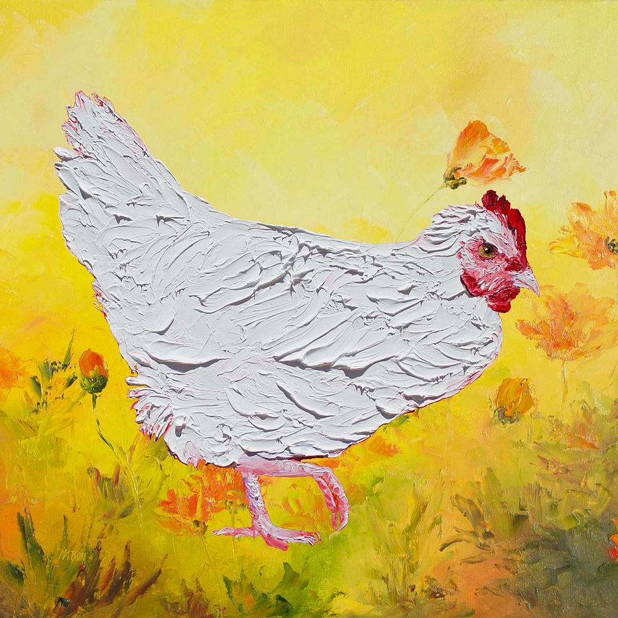 White Chicken On Yellow Floral Background Painting By Jan Matson