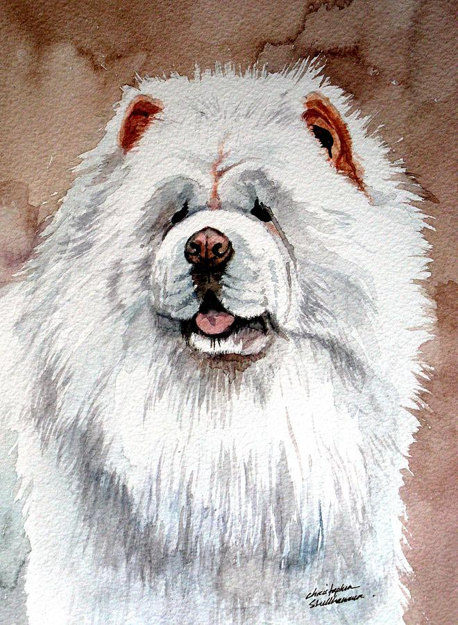 Chow Chow Painting - White Chow Chow by Christopher Shellhammer