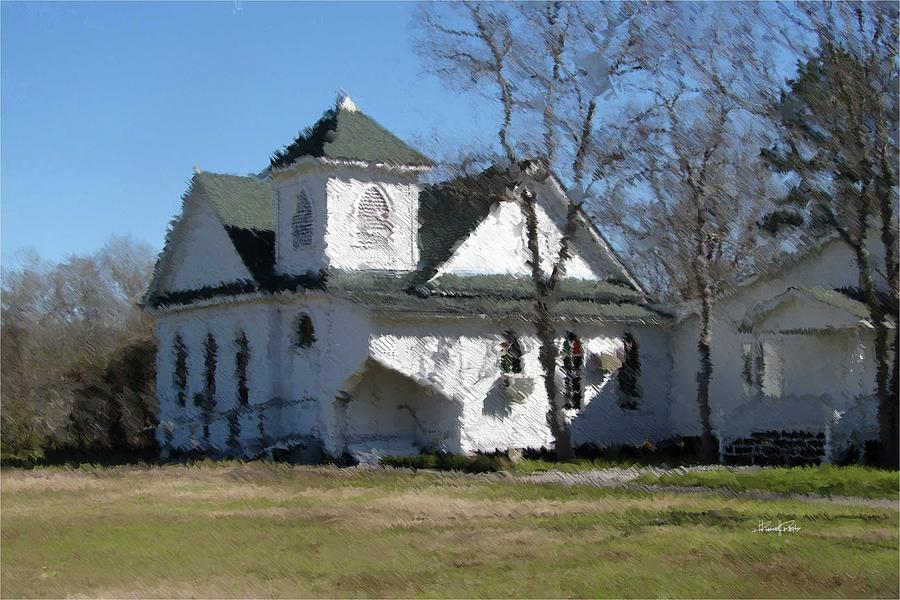 White Photograph - White Church Near the Lake by Russell Owens